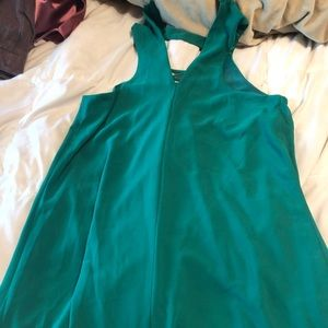 Green mid thigh dress.